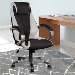 CorLiving WHL-302-C Black and Grey Mesh Fabric Managerial Office Chair