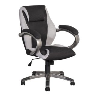 CorLiving WHL-301-C BIFMA Workspace Black and Grey Mesh Fabric Managerial Office Chair