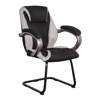 CorLiving WHL-300-C Black and Grey Mesh Fabric Office Guest Chair