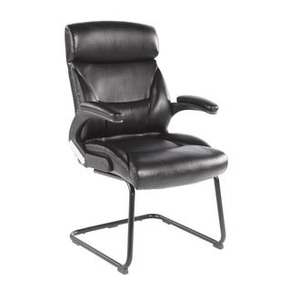 CorLiving WHL-200-C Black Leatherette Office Guest Chair