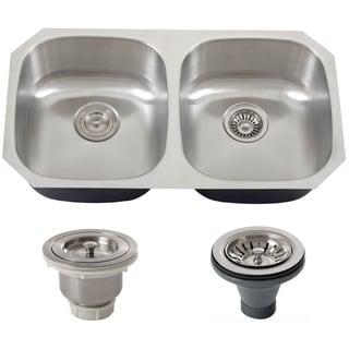 Phoenix 32.63-inch Stainless Steel 18-gauge Undermount Double Bowl Kitchen Sink