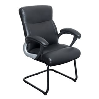 CorLiving WHL-108-C Black Leatherette Office Guest Chair