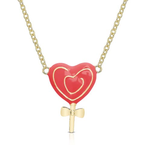 Molly and Emma Gold Overlay Enamel Heart Lollipop Necklace