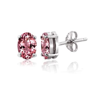 Glitzy Rocks Sterling Silver 1/2ct Pink Tourmaline Oval Stud Earrings
