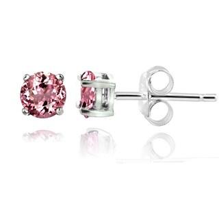 Glitzy Rocks Sterling Silver 1/2ct Pink Tourmaline Round Stud Earrings