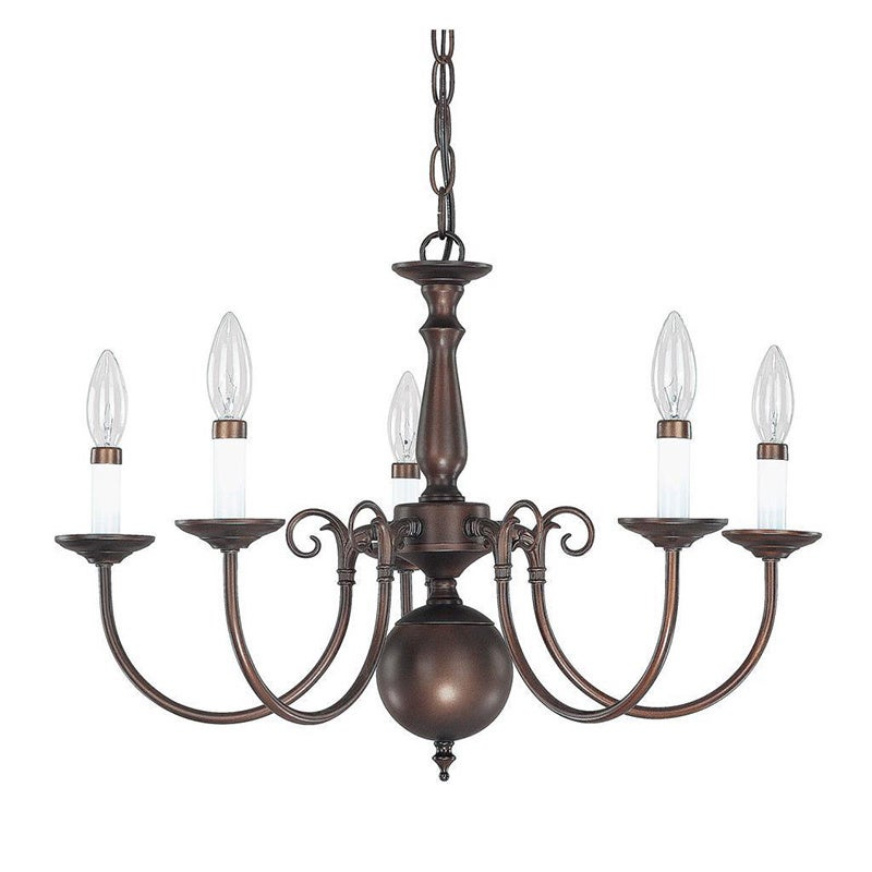 Traditional Williamsburg Style 5 Light Burnished Bronze Chandelier
