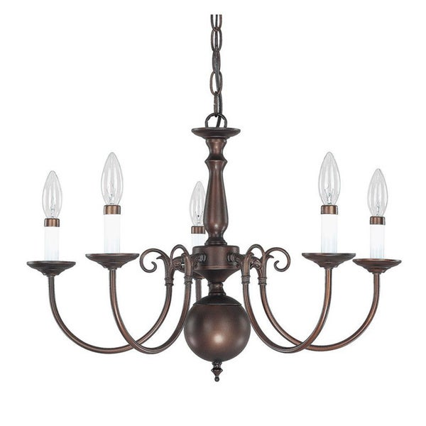 Capital Lighting Traditional Williamsburg Style 5 Light Burnished Bronze Chandelier Free Shipping Today 9770499
