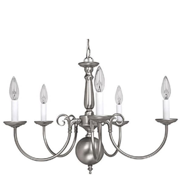 Capital Lighting Traditional Williamsburg Style 5 Light Matte Nickel Chandelier Free Shipping Today 9770500