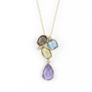 Soho Boutique 14k Yellow Gold Multi-gemstone Diamond Accent Necklace