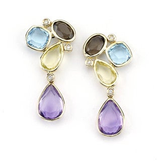 Soho Boutique 14k Yellow Gold Multi-gemstone Diamond Accent Drop Earrings (H-I, SI1-SI2)
