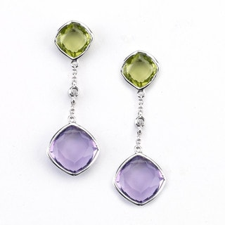 Soho Boutique 14k White Gold Cushion Amethyst Peridot and Diamond Accent Dangle Earrings (H-I, SI1-SI2)