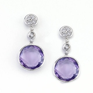 Soho Boutique 14k White Gold Amethyst 1/10ct TDW Diamond Round Dangle Earrings (H-I, SI1-SI2)