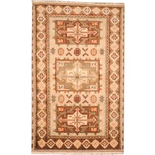 Herat Oriental Indo Hand-knotted Tribal Kazak Gray/ Brown Wool Rug (3'2 x 5'1)