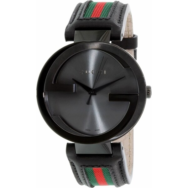 Gucci Men's YA133206 Quartz Interlocking Black Dial Black Leather Watch