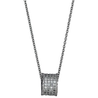 Decadence Sterling Silver Cubic Zirconia Micropave Round Slider Necklace