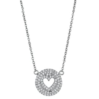Decadence Sterling Silver Cubic Zirconia Triple Halo Heart Necklace