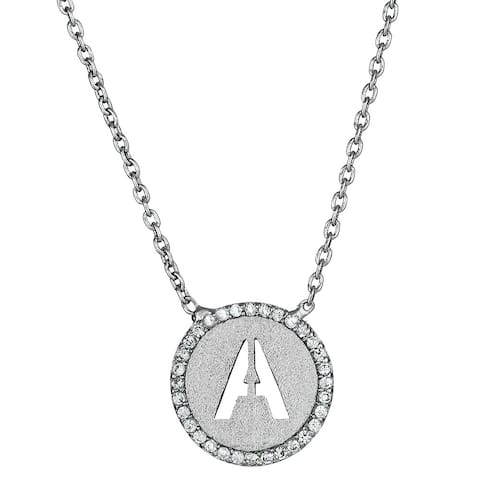 Decadence Sterling Silver Cubic Zirconia Micropave Initial Necklace