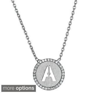 Decadence Sterling Silver Cubic Zirconia Micropave Initial Necklace|https://ak1.ostkcdn.com/images/products/9770793/P16940729.jpg?impolicy=medium