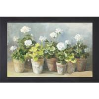 Danhui Nai 'White Geraniums' Framed Artwork