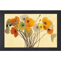 Shirley Novak 'Pumpkin Poppies I' Framed Art - Yellow