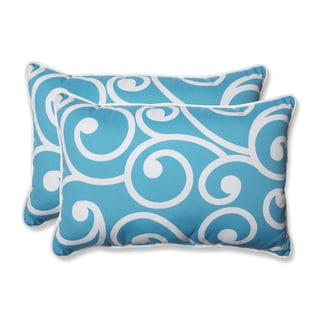 Pillow Perfect Outdoor Best Turquoise Over-sized Rectangular Throw Pillow (Set of 2)