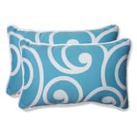 Pillow Perfect Outdoor Best Turquoise Rectangular Throw Pillow (Set of 2)