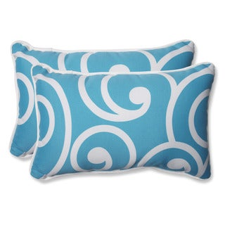 Pillow Perfect Outdoor Best Turquoise Rectangular Throw Pillow (Set of 2)