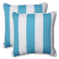 Pillow Perfect Outdoor Cabana Stripe Turquoise 18.5-inch Throw Pillow (Set of 2)