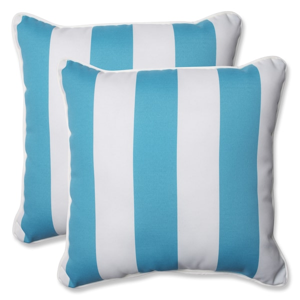 Throw Pillows Set Of 4 : Pillow Perfect Outdoor Cabana Stripe Turquoise 18.5-inch Throw Pillow (Set of 2) - Free Shipping ...