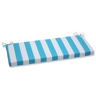 Pillow Perfect Outdoor Cabana Stripe Turquoise Bench Cushion