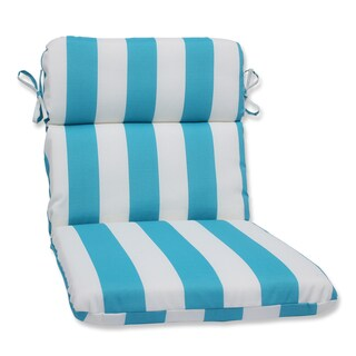 Pillow Perfect Outdoor Cabana Stripe Turquoise Rounded Corners Chair Cushion