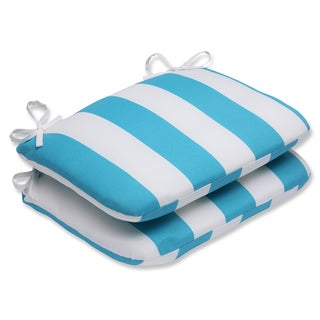 Pillow Perfect Outdoor Cabana Stripe Turquoise Rounded Corners Seat Cushion (Set of 2)