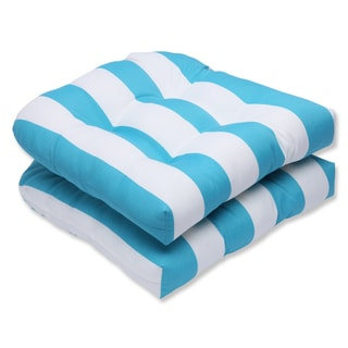 Pillow Perfect Outdoor Cabana Stripe Turquoise Wicker Seat Cushion (Set of 2)