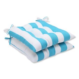 Pillow Perfect Outdoor Cabana Stripe Turquoise Wrought Iron Seat Cushion (Set of 2)