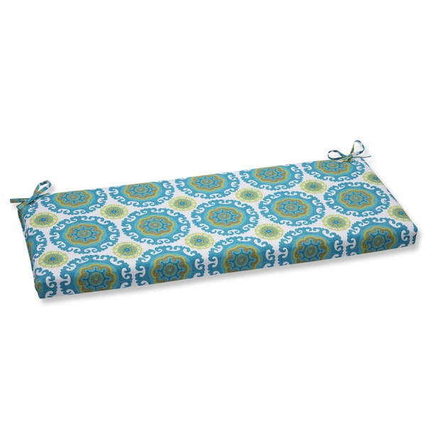 Pillow Perfect Outdoor Suzani Turquoise Bench Cushion