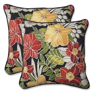 Pillow Perfect Outdoor Clemens Noir 18.5-inch Throw Pillow (Set of 2)