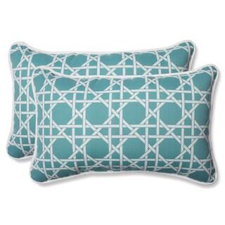 Pillow Perfect Outdoor Kane Aqua Rectangular Throw Pillow (Set of 2)