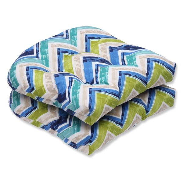 Pillow Perfect Outdoor Marquesa Marine Wicker Seat Cushion (Set of 2)