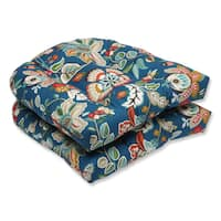 Pillow Perfect Outdoor Telfair Peacock Wicker Seat Cushion (Set of 2)