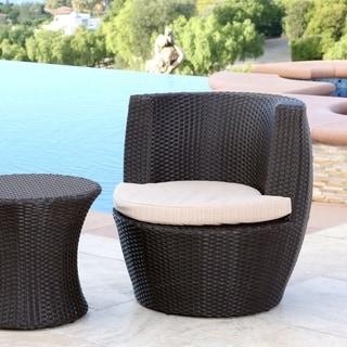Abbyson Newport Outdoor Espresso Wicker Bistro Chair