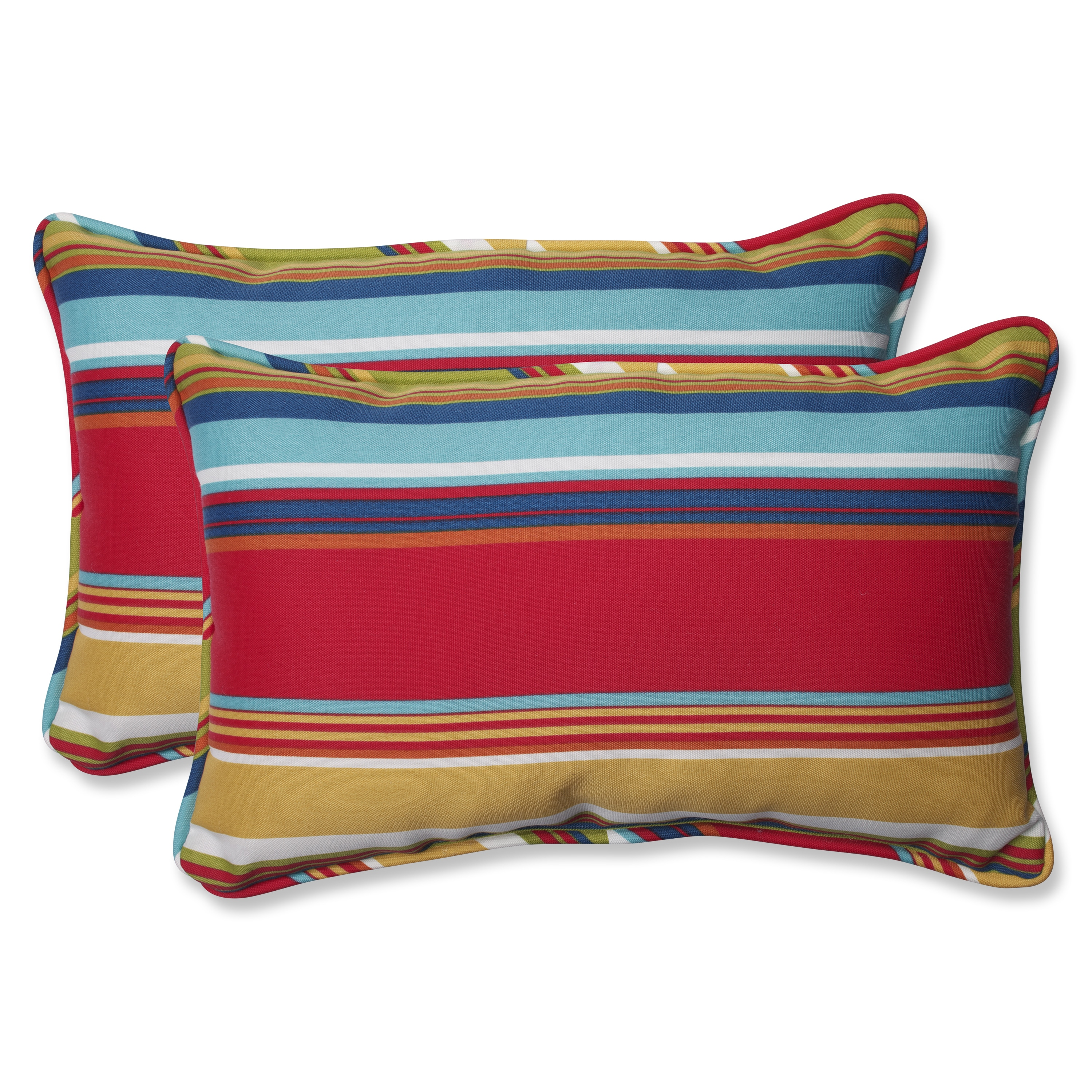 Pillow Perfect Outdoor Topanga Stripe Lagoon Rectangular Throw Pillow Set of 2 537177