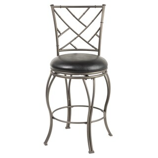 Honolulu Metal Bar or Counter Stool with Black Upholstered Swivel-Seat