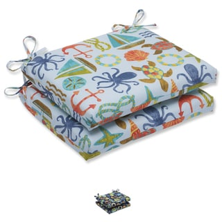 Pillow Perfect Outdoor Seapoint Squared Corners Seat Cushion (Set of 2)