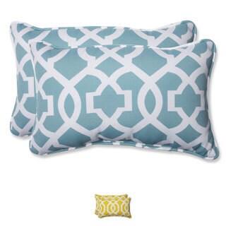 Pillow Perfect Outdoor New Geo Rectangular Throw Pillow (Set of 2) (Option: Yellow)
