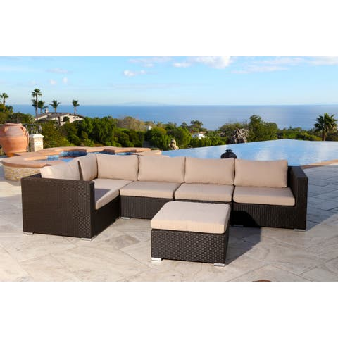 Abbyson Newport Outdoor Wicker 6-piece Sectional