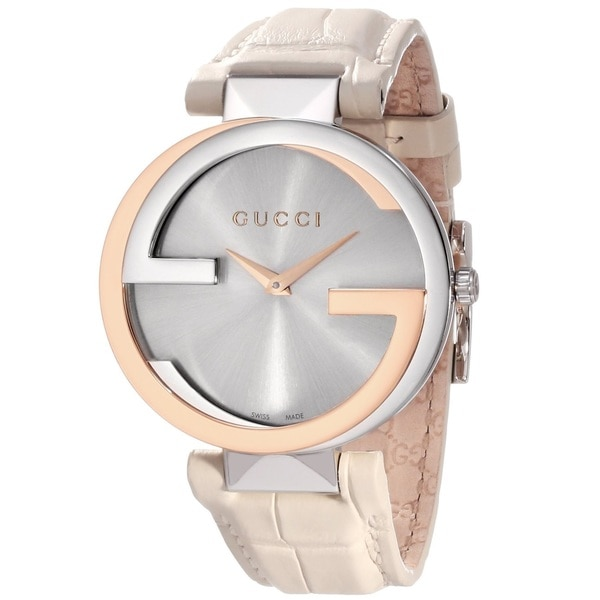 b6234412d3fe7 Gucci Women's YA133303 'Interlocking-G' 18k Gold and Stainless Steel Watch  with White Leather Band