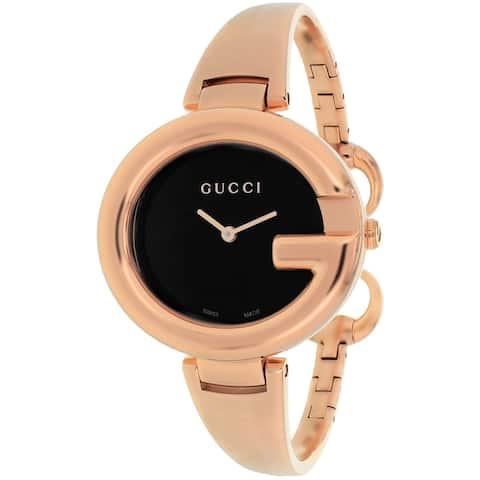 Gucci Women's 'Guccissima' Swiss Quartz Rose Gold Stainless Steel Bangle Watch