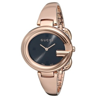 Gucci Women's YA134305 'Guccissima' Swiss Quartz Rose Gold Stainless Steel Bangle Watch