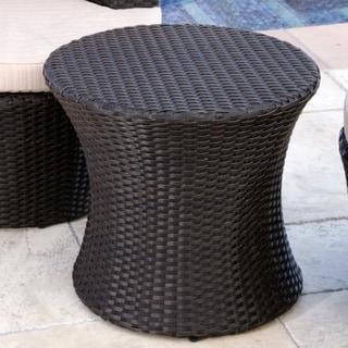 ABBYSON LIVING Newport Outdoor Espresso Brown Wicker End Table