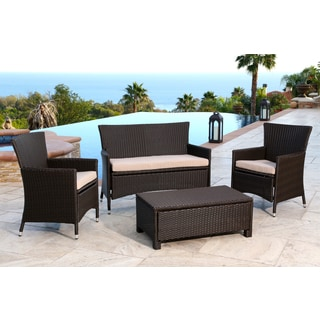 Abbyson Newport Outdoor Espresso Brown Wicker 4-piece Conversation Set